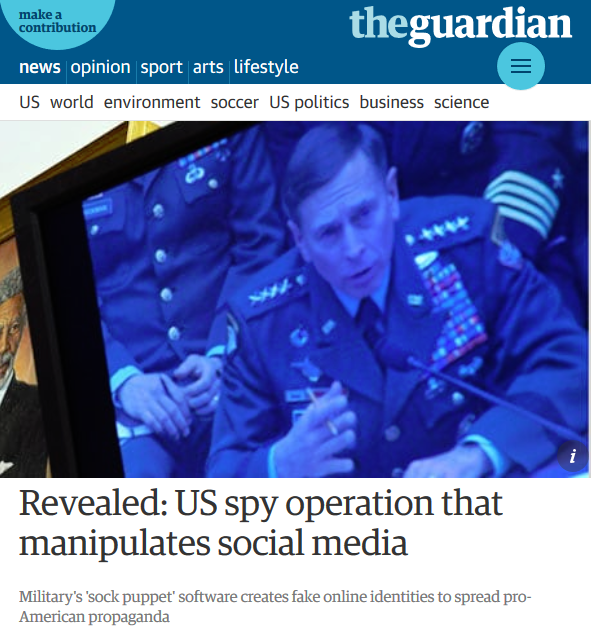 Guardian: Revealed US Spy Operation That Manipulates Social Media