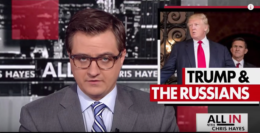 Chris Hayes starting his MSNBC show, as he usually does, with Trump and the Russians.