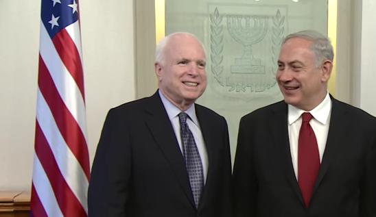 John McCain meets with Benjamin Netanyahu(image: Israeli prime minister, 6/30/17)