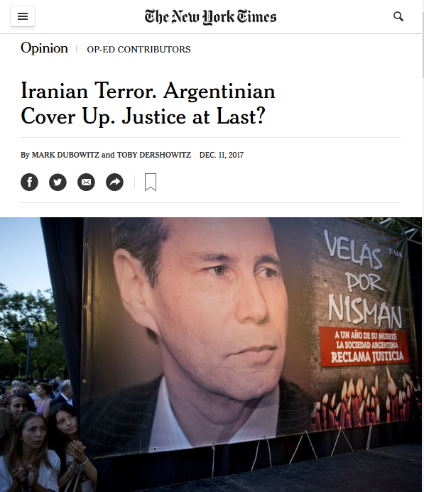 NYT: Iranian Terror. Argentinian Cover Up. Justice at Last?