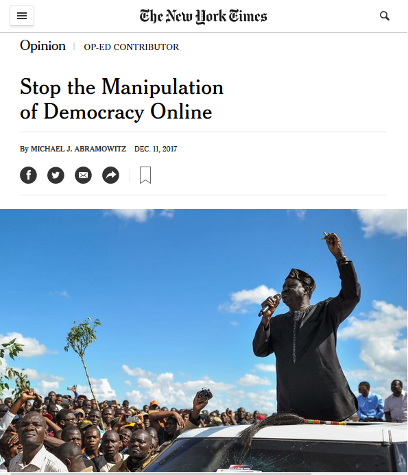 NYT: Stop the Manipulation of Democracy Online