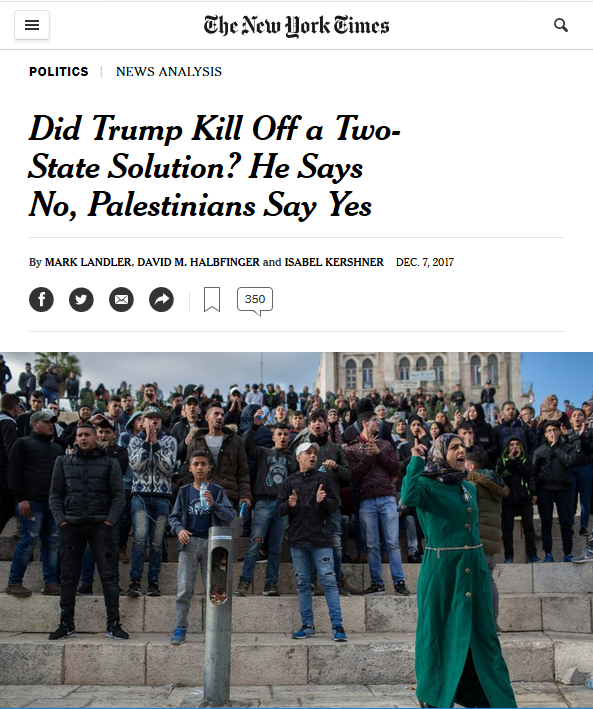 NYT: Did Trump Kill Off a Two-State Solution? He Says No, Palestinians Say Yes