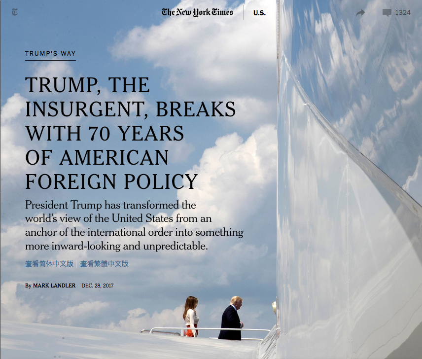 NYT: Trump, the Insurgent, Breaks With 70 Years of American Foreign Policy
