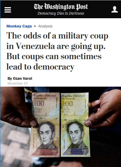 WaPo: The odds of a military coup in Venezuela are going up. But coups can sometimes lead to democracy