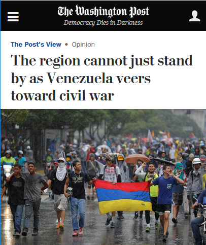 WaPo: The region cannot just stand by as Venezuela veers toward civil war