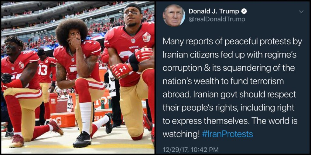 Colin Kaepernick juxtaposed with Trump Iran protest tweet