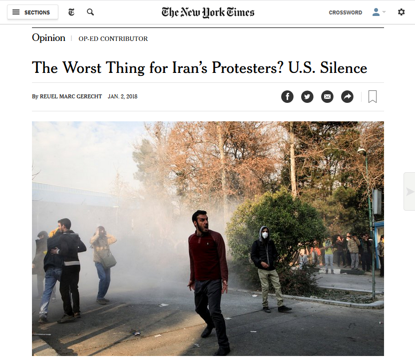 NYT: The Worst Thing for Iran's Protesters? U.S. Silence