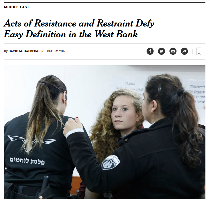 NYT: Acts of Resistance and Restraint Defy Easy Definition in the West Bank