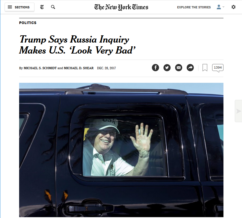 NYT: POLITICS Trump Says Russia Inquiry Makes U.S. 'Look Very Bad'