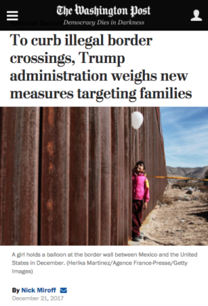 WaPo: To Curb Illegal Border Crossings, Trump Adminstration Weighs New Measures Targeting Families