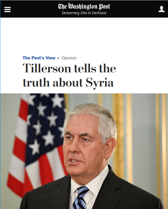 WaPo: Tillerson Tells the Truth About Syria