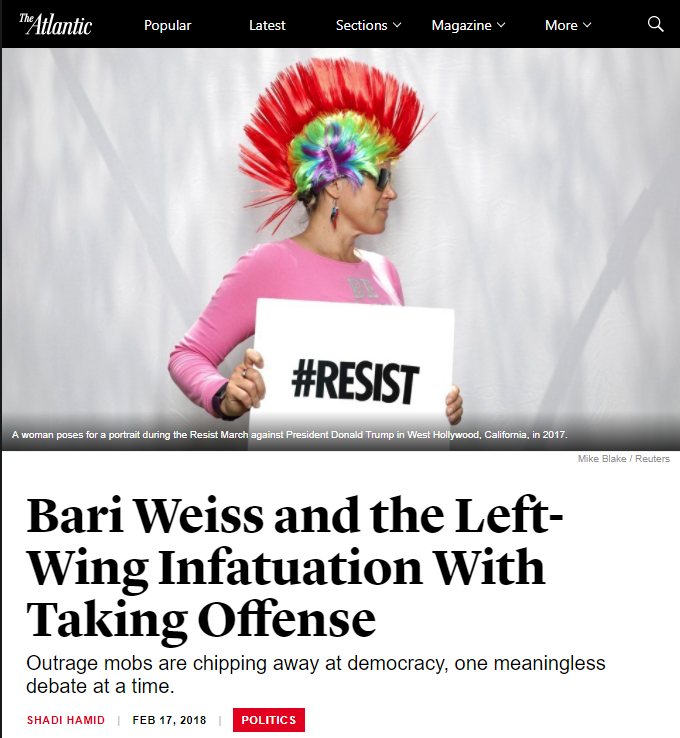 Atlantic: Bari Weiss and the Left-Wing Infatuation With Taking Offense