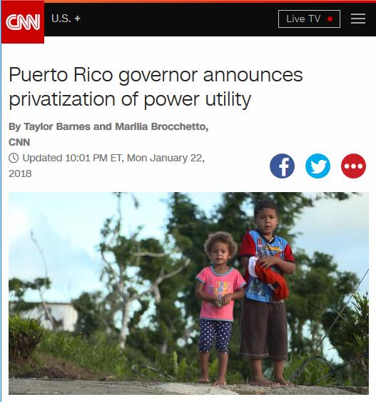 CNN: Puerto Rico governor announces privatization of power utility