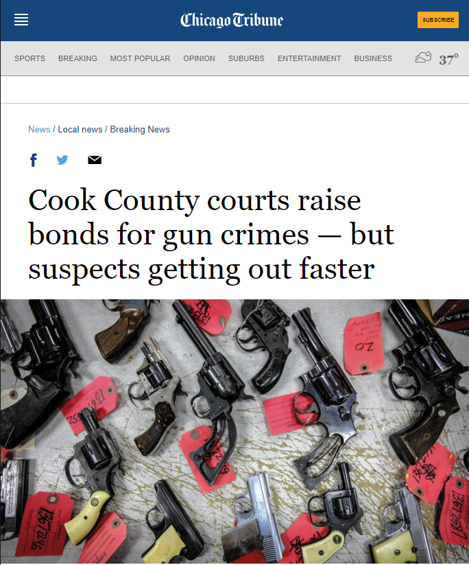 Chicago Tribune: Cook County courts raise bonds for gun crimes — but suspects getting out faster