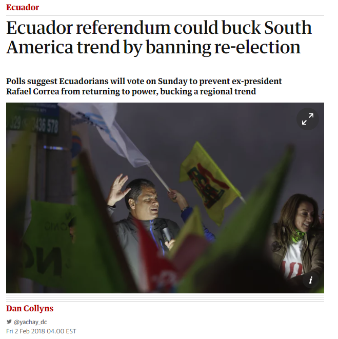 Guardian: Ecuador referendum could buck South America trend by banning re-election