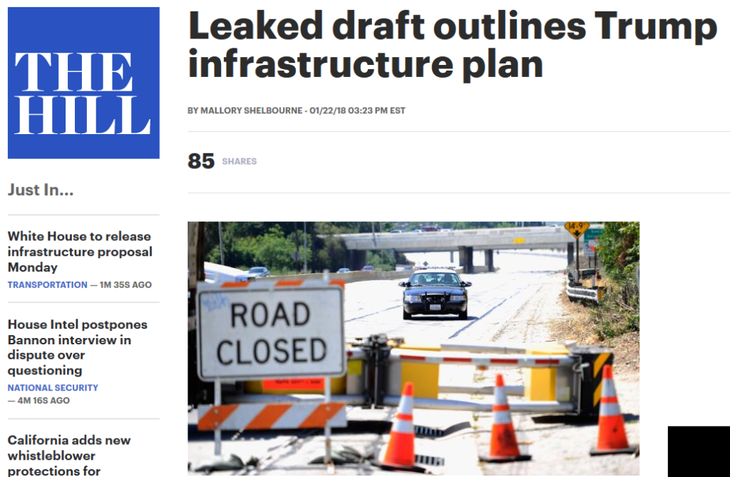 The Hill: Leaked draft outlines Trump infrastructure plan