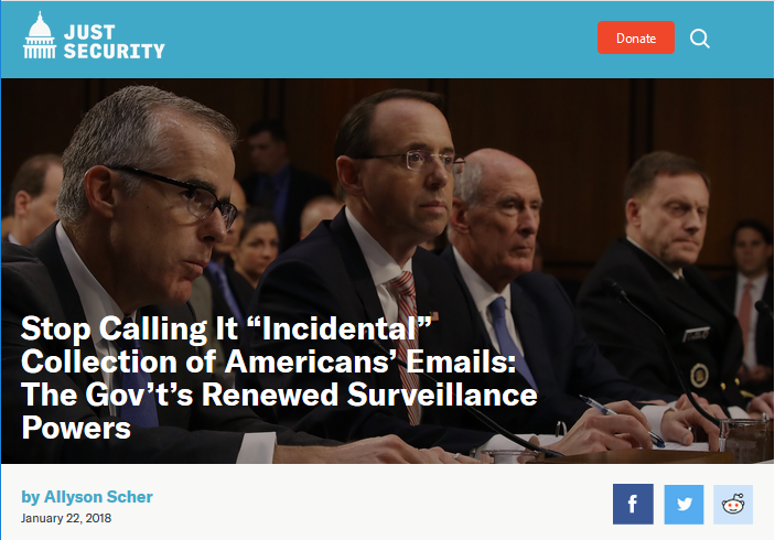 """Just Security: Stop Calling It """"Incidental"""" Collection of Americans' Emails: The Gov't's Renewed Surveillance Powers"""