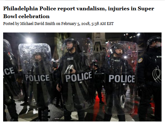 NBC Sports: Philadelphia Police report vandalism, injuries in Super Bowl celebration