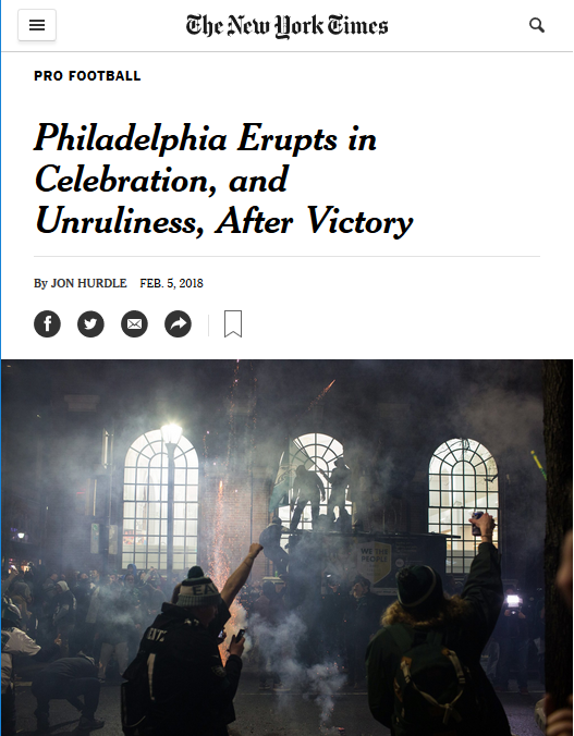 NYT: Philadelphia Erupts in Celebration, and Unruliness, After Victory