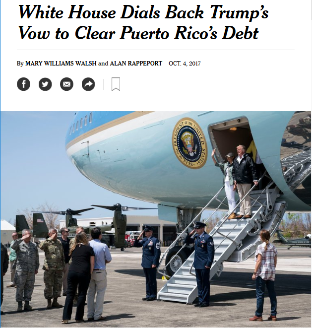 NYT: White House Dials Back Trump's Vow to Clear Puerto Rico's Debt