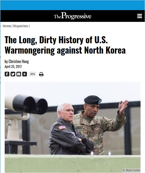 Progressive: The Long, Dirty History of US Warmongering Against North Korea