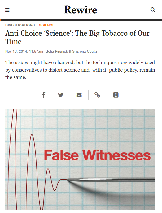 Rewire: Anti-Choice 'Science': The Big Tobacco of Our Time