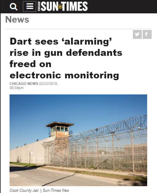 Chicago Sun Times: Dart sees 'alarming' rise in gun defendants freed on electronic monitoring