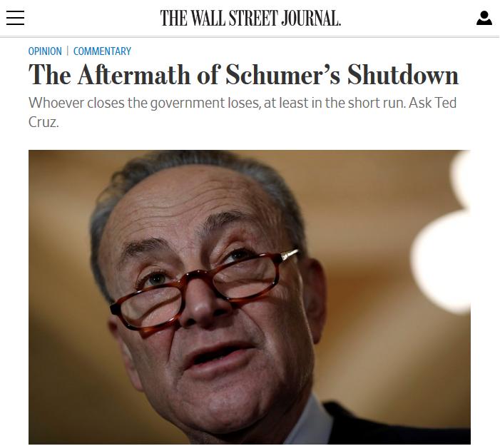 WSJ: The Aftermath of Schumer's Shutdown