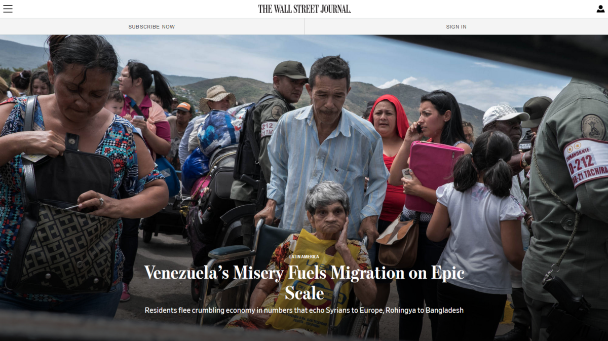 WSJ: Venezuela's Misery Fuels Migration on Epic Scale