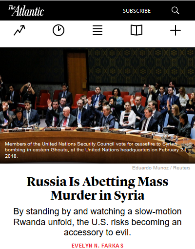 Atlantic: Russia Is Abetting Mass Murder in Syria
