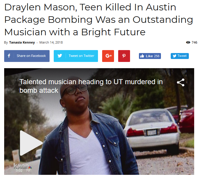 Atlanta Black Star: Draylen Mason, Teen Killed In Austin Package Bombing, Was an Outstanding Musician with a Bright Future