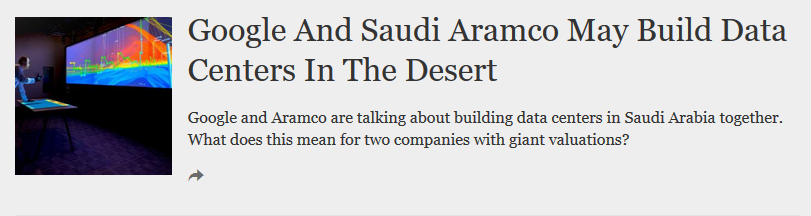 Forbes: Google and Saudi Aramco May Build Data Centers in the Desert