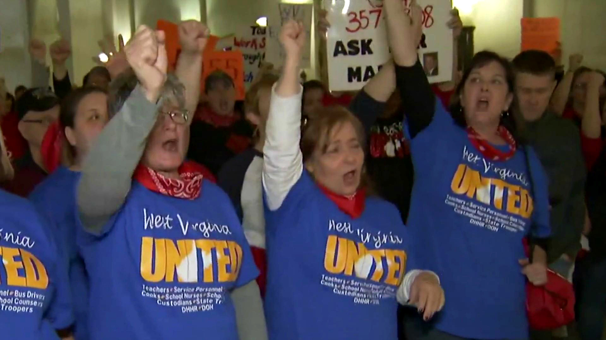 Teachers on strike in West Virginia (image: MSNBC)