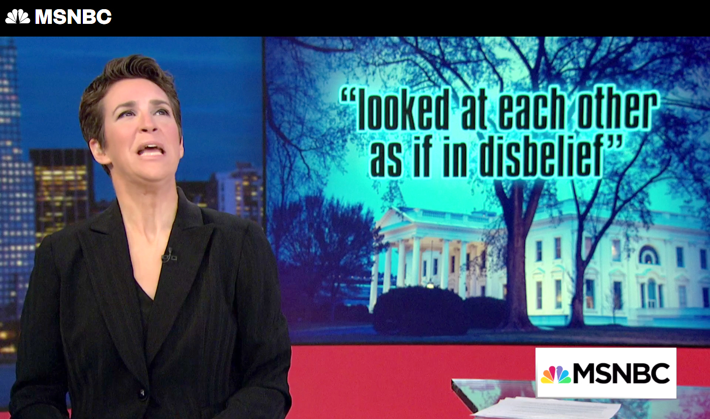 "MSNBC's Rachel Maddow: ""Looked at each other as if in disbelief"""