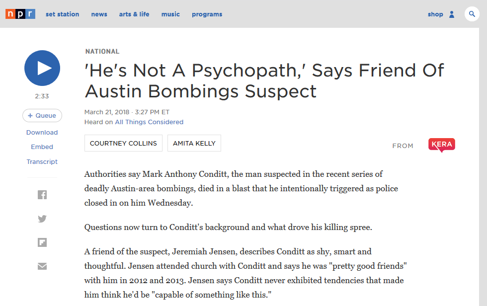 NPR: 'He's Not A Psychopath,' Says Friend Of Austin Bombings Suspect