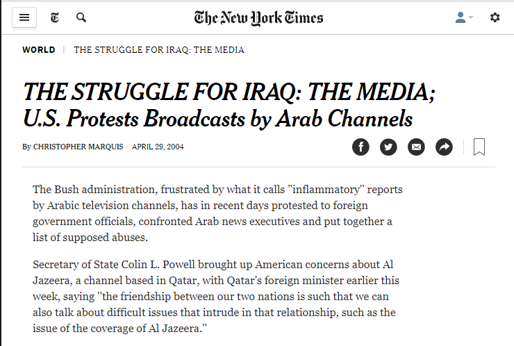 NYT: US Protests Broadcasts by Arab Channels