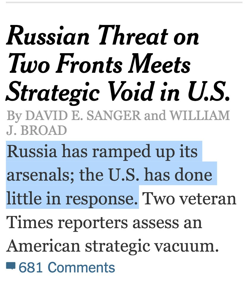NYT: Russian Threat on Two Fronts Meets Strategic Void in US