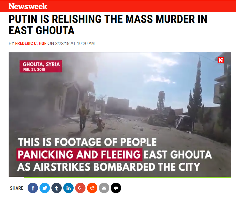 Newsweek: Putin Is Relishing the Mass Murder in East Ghouta