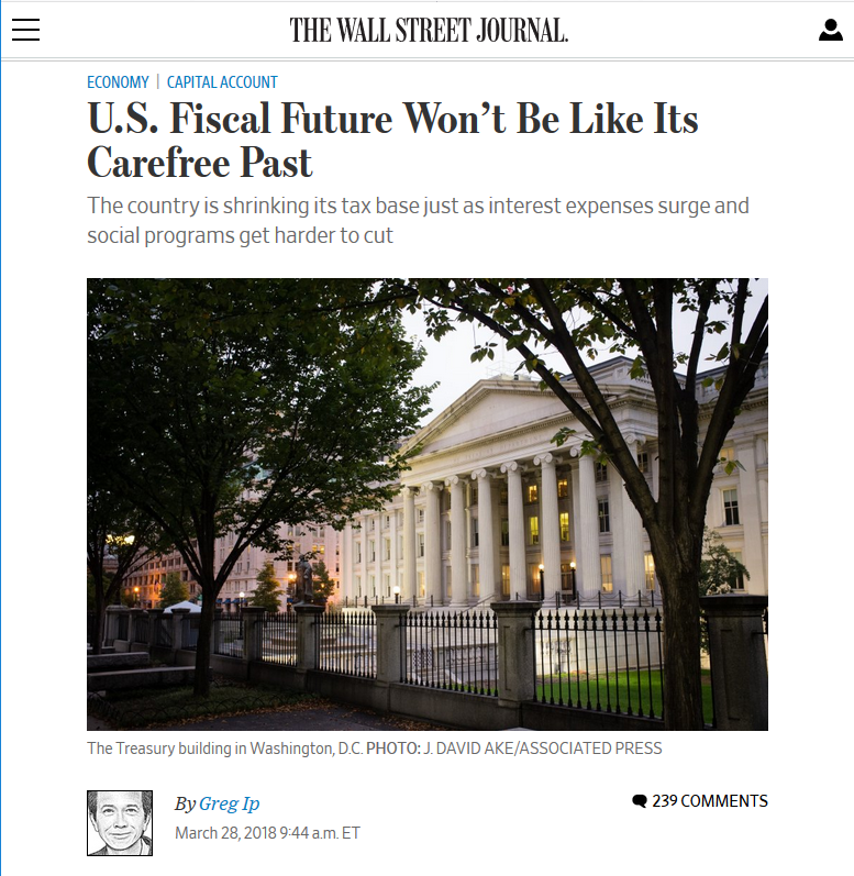WSJ: US Fiscal Future Won't Be Like Its Carefree Past