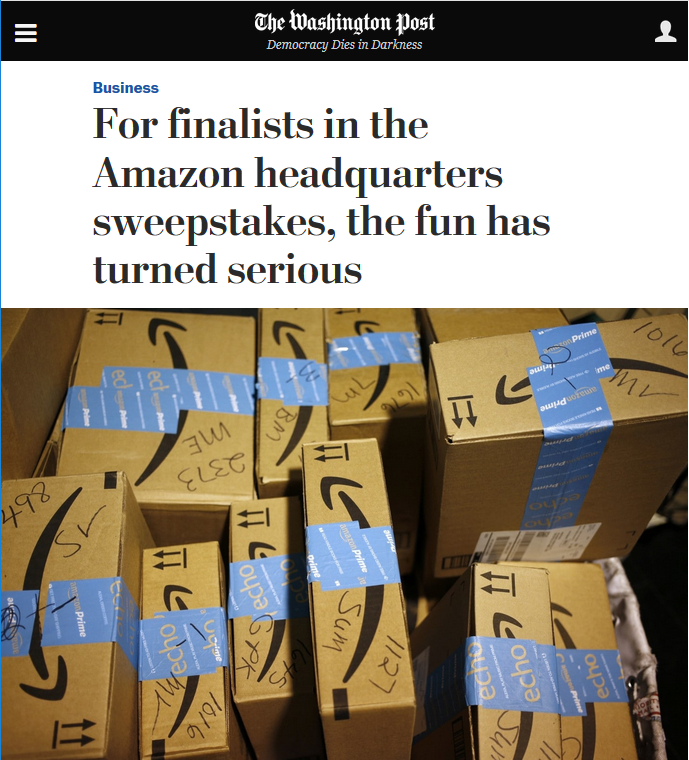 WaPo: For finalists in the Amazon headquarters sweepstakes, the fun has turned serious