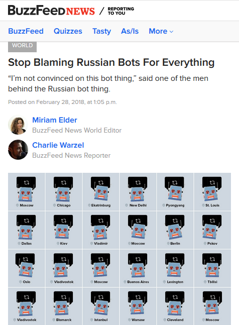 BuzzFeed: Stop Blaming Russian Bots For Everything