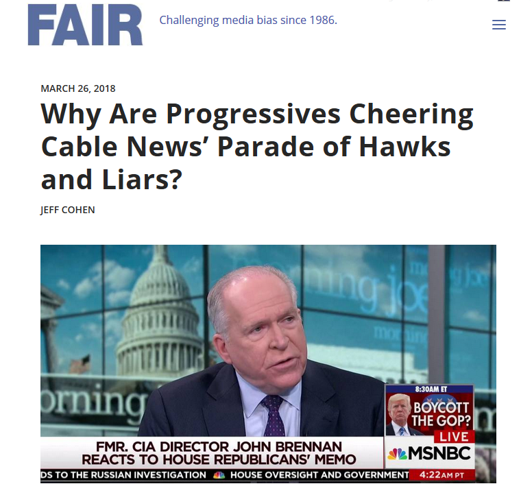 FAIR: Why Are Progressives Cheering Cable News' Parade of Hawks and Liars?