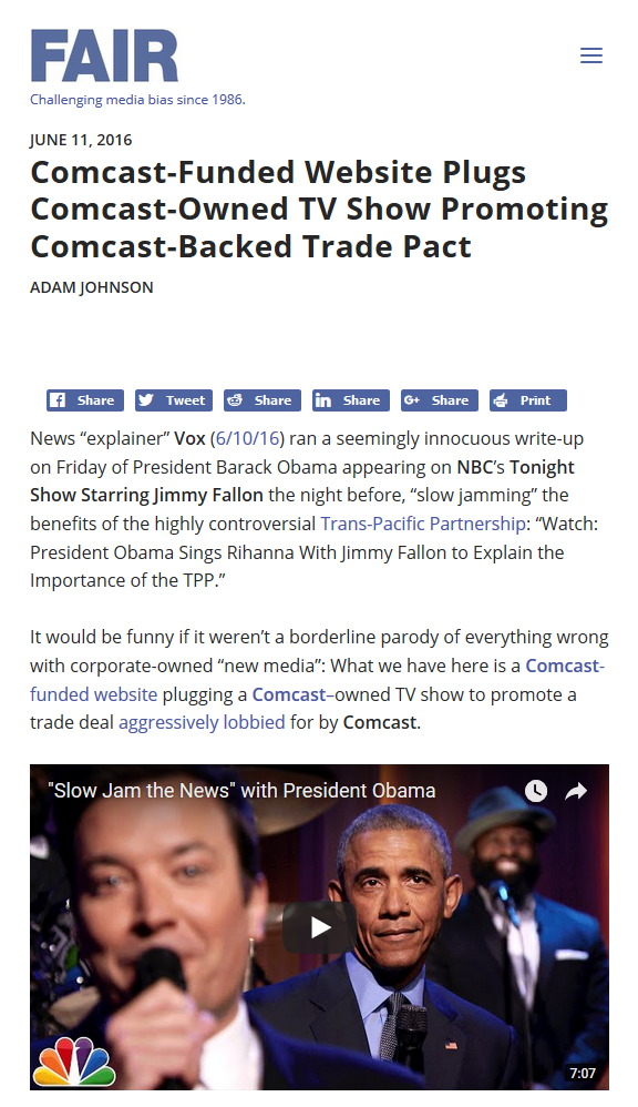 FAIR: Comcast-Funded Website Plugs Comcast-Owned TV Show Promoting Comcast-Backed Trade Pact