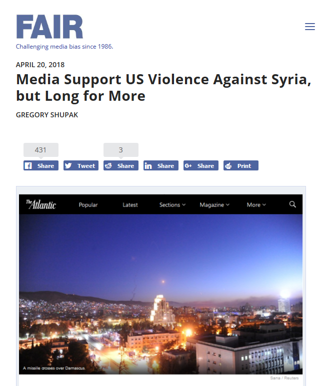 FAIR: Media Support US Violence Against Syria, but Long for More
