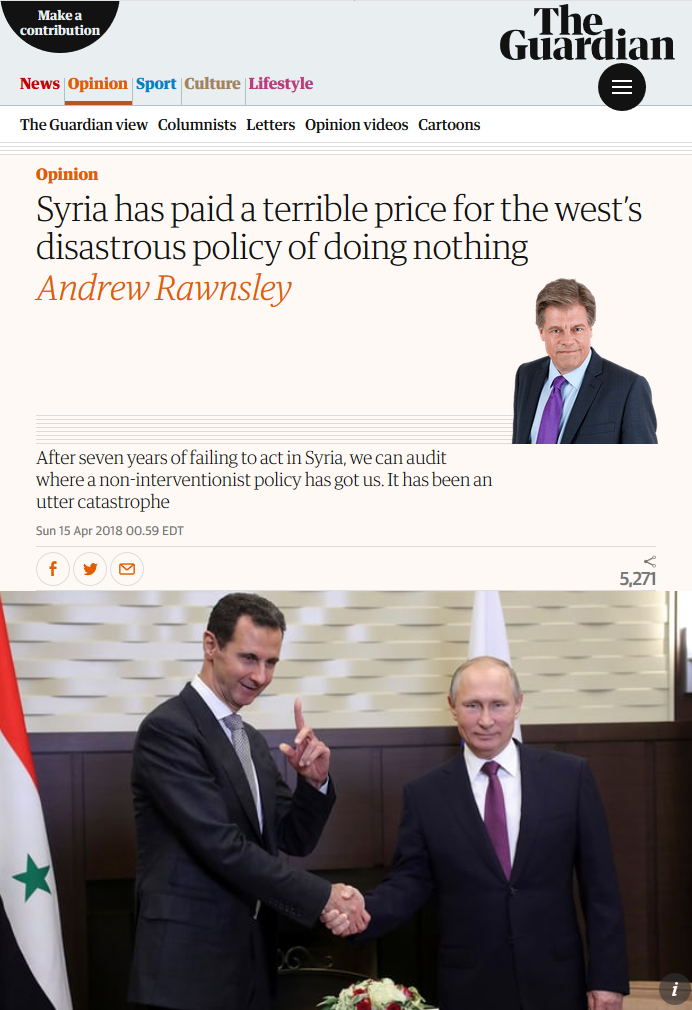 Guardian: Syria Has Paid a Terrible Price for the West's Disastrous Policy of Doing Nothing