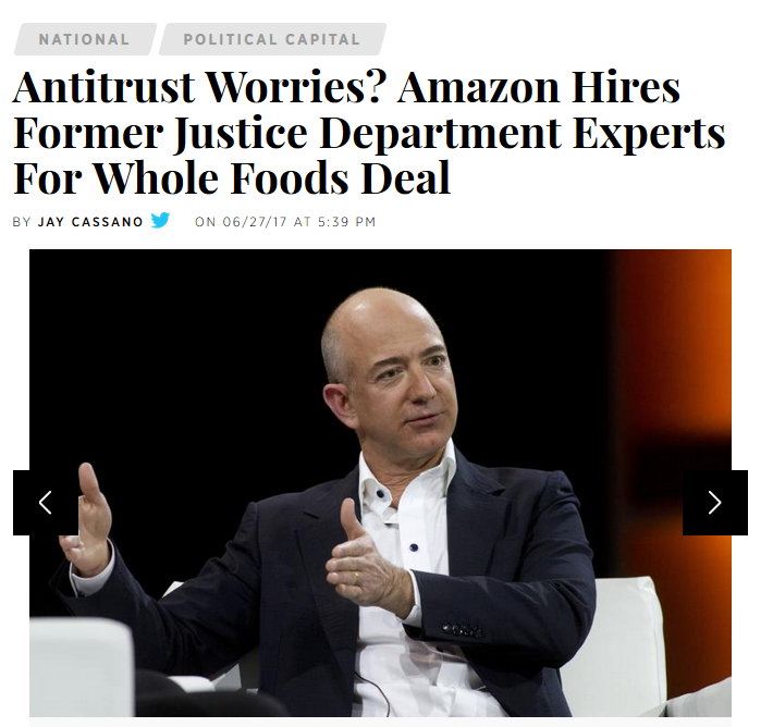 IBT: Antitrust Worries? Amazon Hires Former Justice Department Experts For Whole Foods Deal