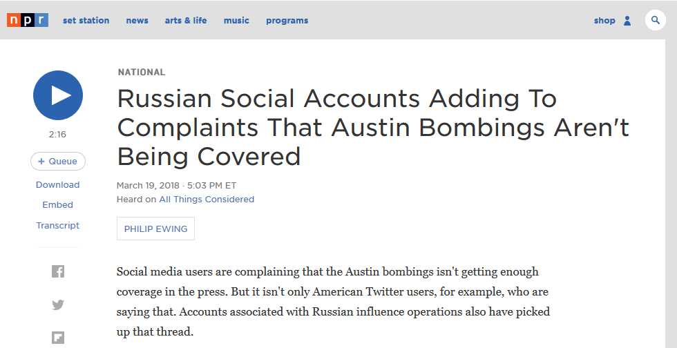NPR: Russian Social Accounts Adding To Complaints That Austin Bombings Aren't Being Covered