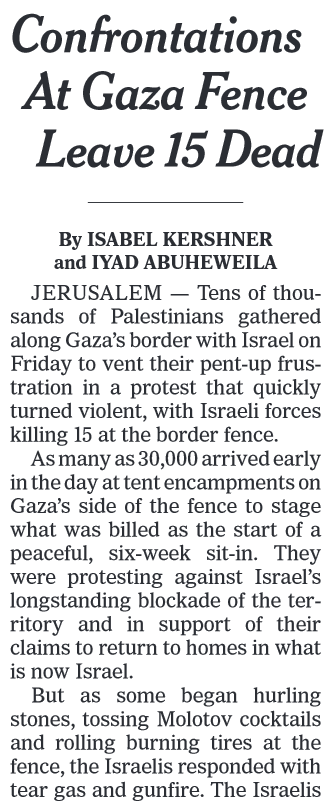NYT: Confrontations at Gaza Fence Leave 15 Dead