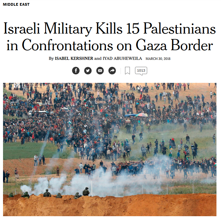 NYT: Israeli Military Kills 15 Palestinians in Confrontations on Gaza Border