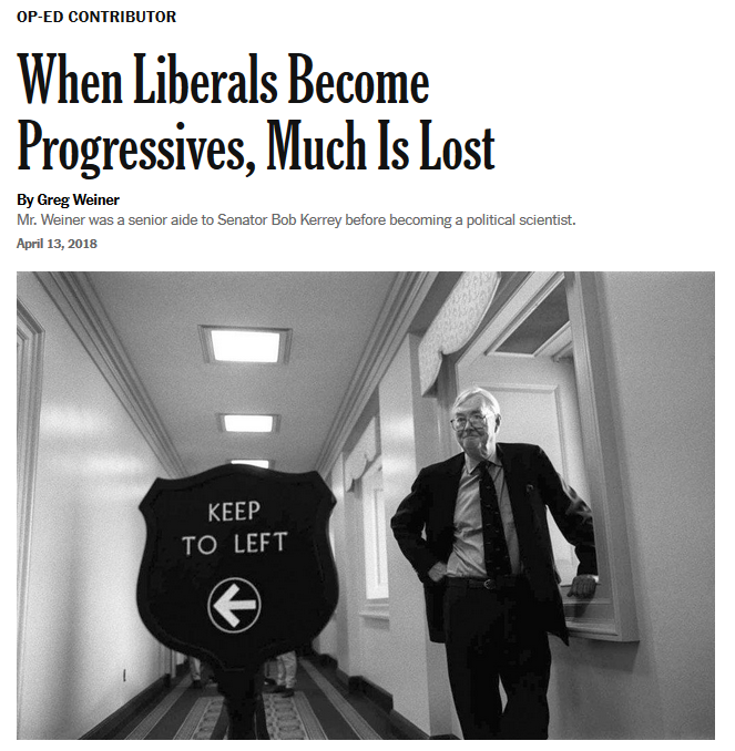 New York Times: When Liberals Become Progressives, Much Is Lost